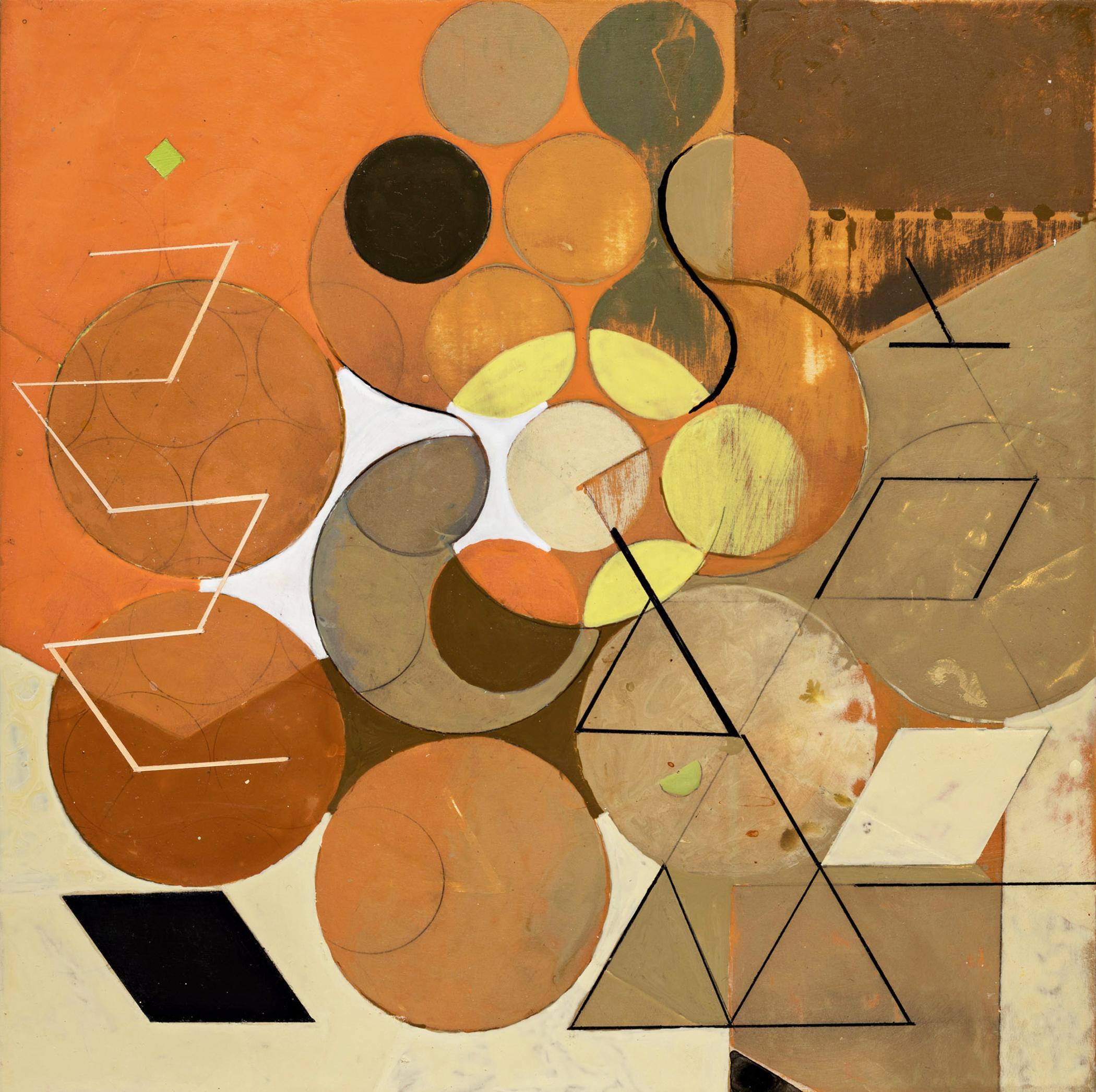 Goddess of the Subtle Matrix #1 (Abstract geometric painting, Orange & Neutrals)