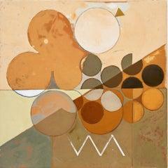 Goddess of the Subtle Matrix #2 (Abstract geometric painting, Orange & Neutrals)