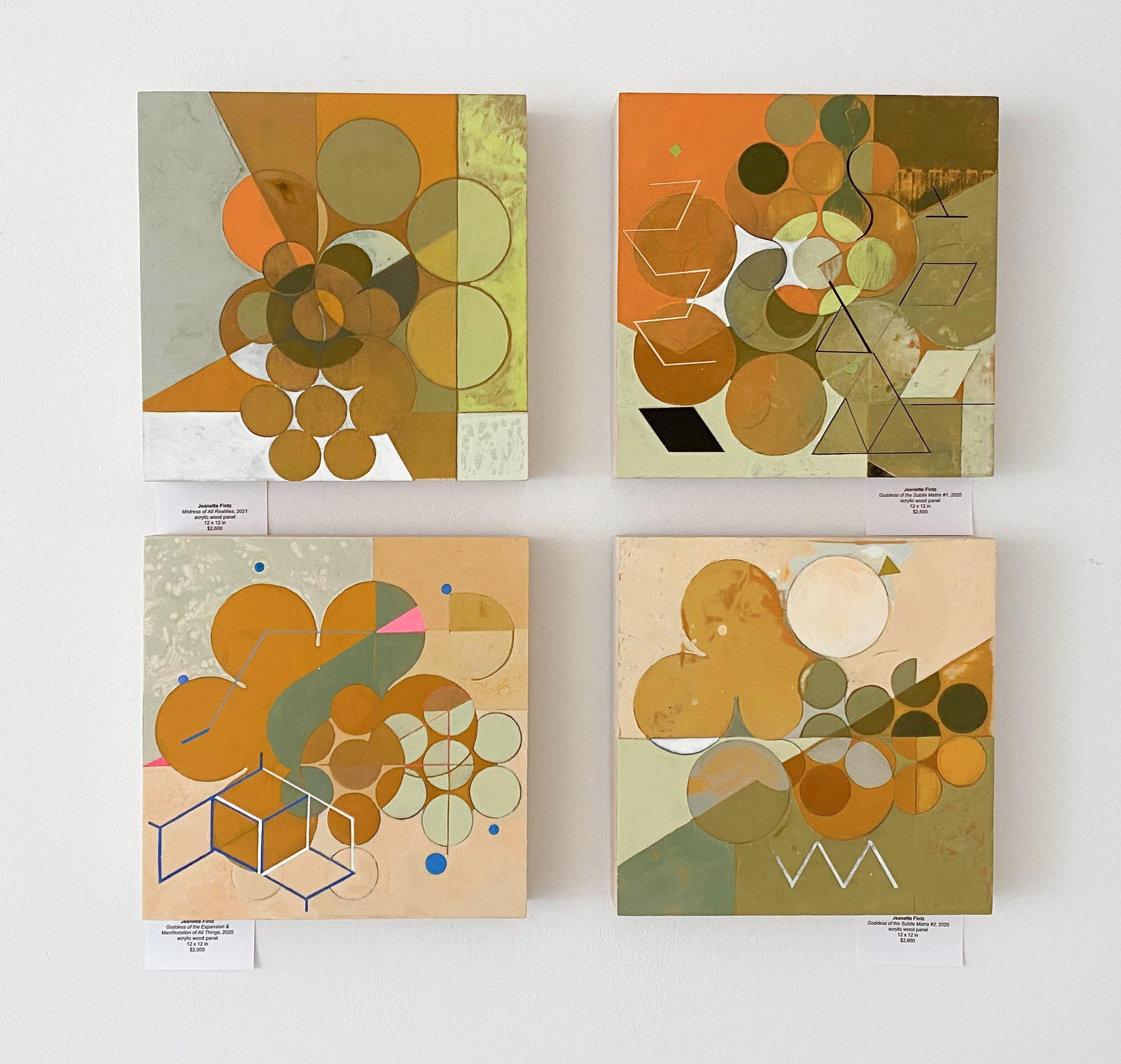 Goddess Paintings (Set of 4 Abstract Geometric Orange Paintings on Panel)