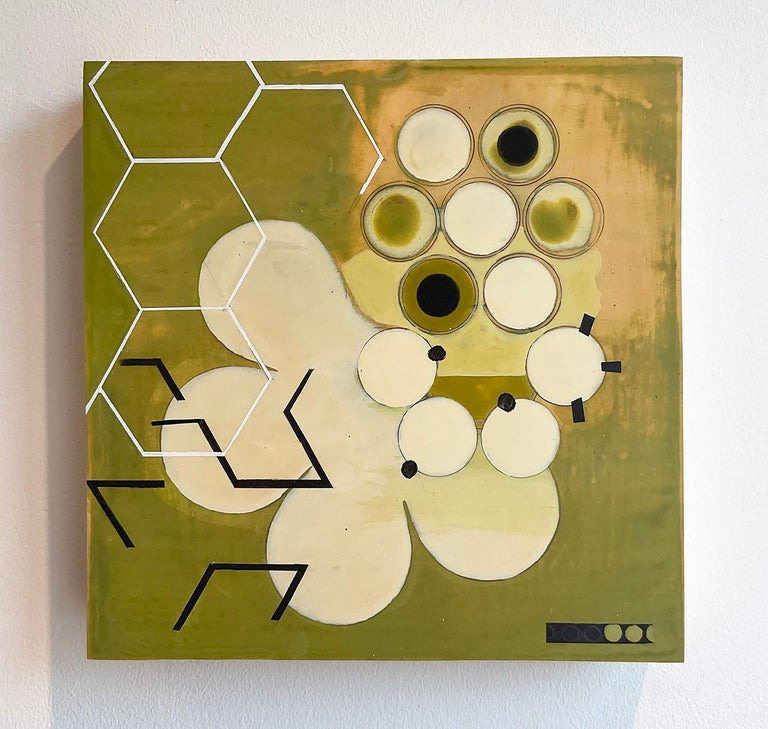 Green Mother #1 (Mid Century, Abstract Geometric Painting, White, Moss Green) - Brown Abstract Painting by Jeanette Fintz