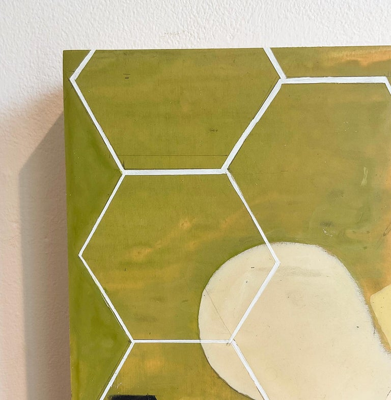 Green Mother #1 (Mid Century, Abstract Geometric Painting, White, Moss Green) For Sale 1
