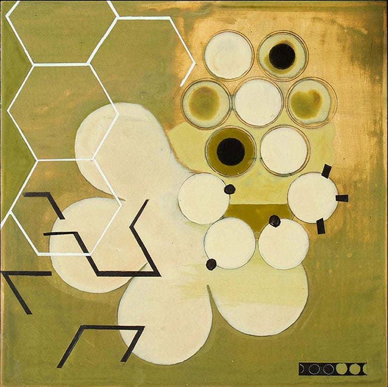 Jeanette Fintz Abstract Painting -  Green Mother #1 (Mid Century, Abstract Geometric Painting, White, Moss Green)