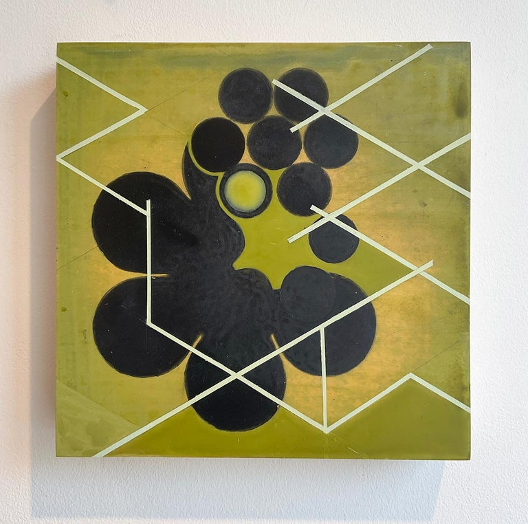 Green Mother #2 (Mid Century Inspired Abstract Geometric Painting, Moss Green) For Sale 1