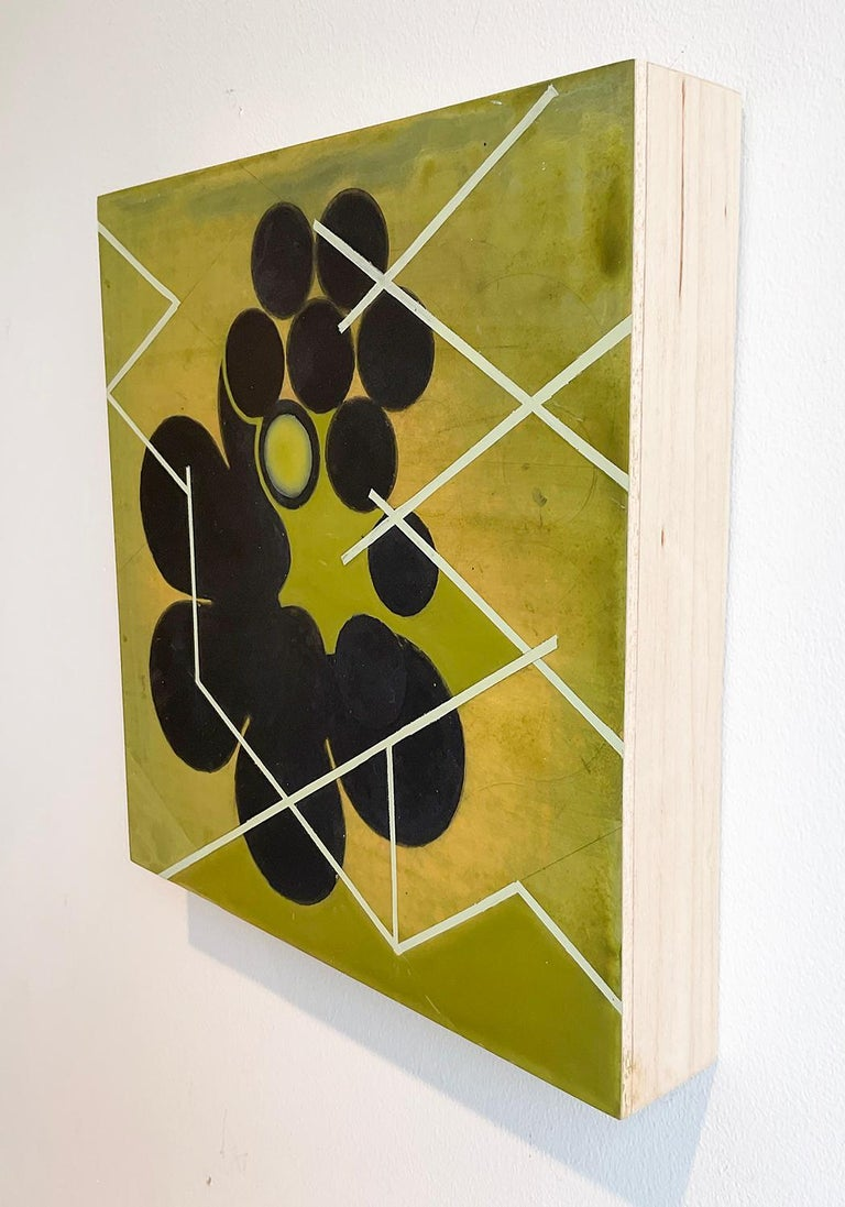 Green Mother #2 (Mid Century Inspired Abstract Geometric Painting, Moss Green) For Sale 2