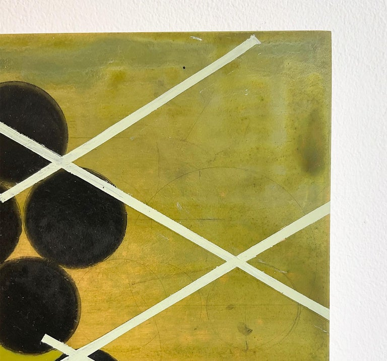 Green Mother #2 (Mid Century Inspired Abstract Geometric Painting, Moss Green) For Sale 3