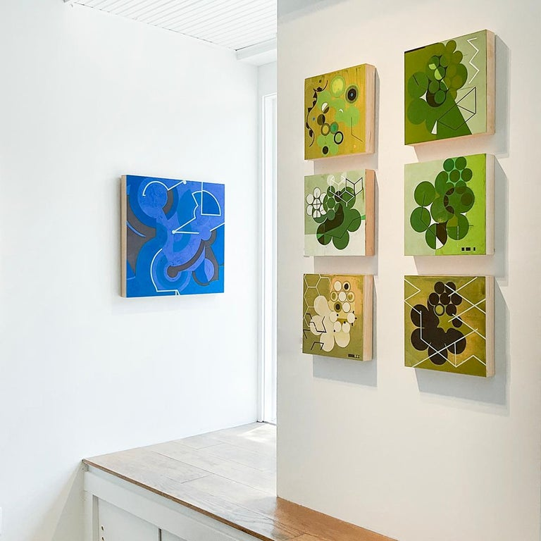 Green Mother #2 (Mid Century Inspired Abstract Geometric Painting, Moss Green) For Sale 5
