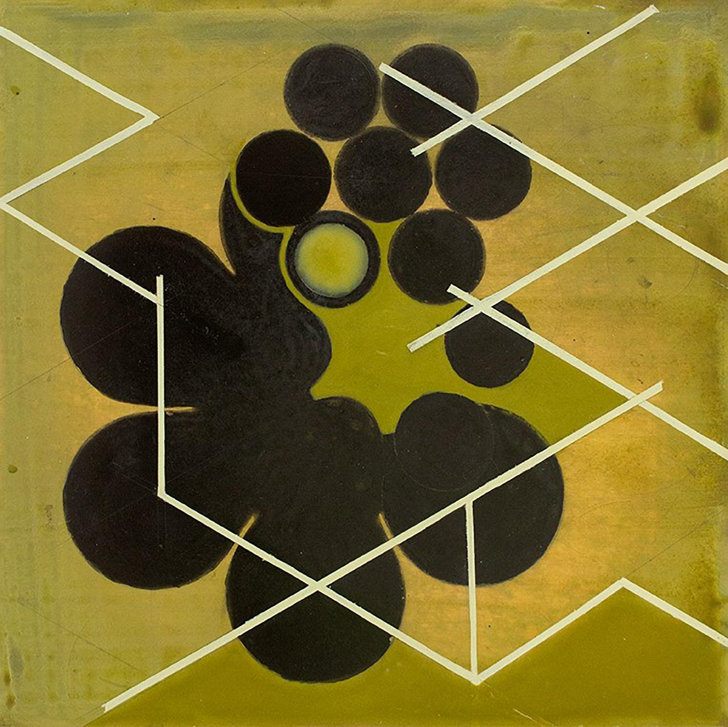Green Mother #2 (Mid Century Inspired Abstract Geometric Painting, Moss Green)