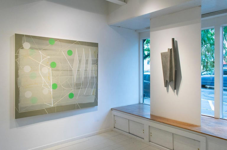 Passing Through #1 (Geometric Abstract Painting in Green, Beige and White) For Sale 1