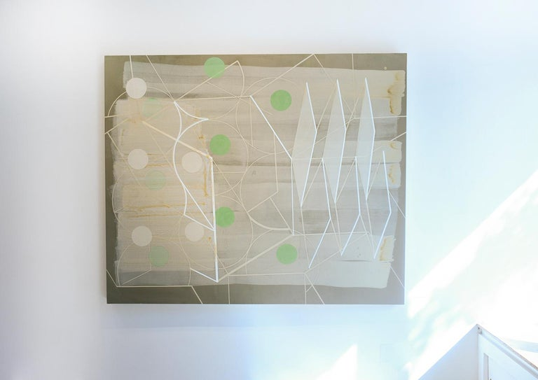 Passing Through #1 (Geometric Abstract Painting in Green, Beige and White) For Sale 2