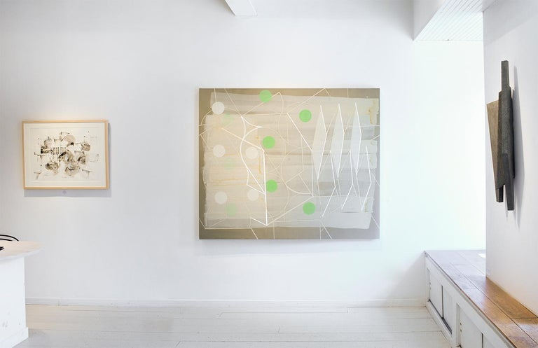 Passing Through #1 (Geometric Abstract Painting in Green, Beige and White) For Sale 3
