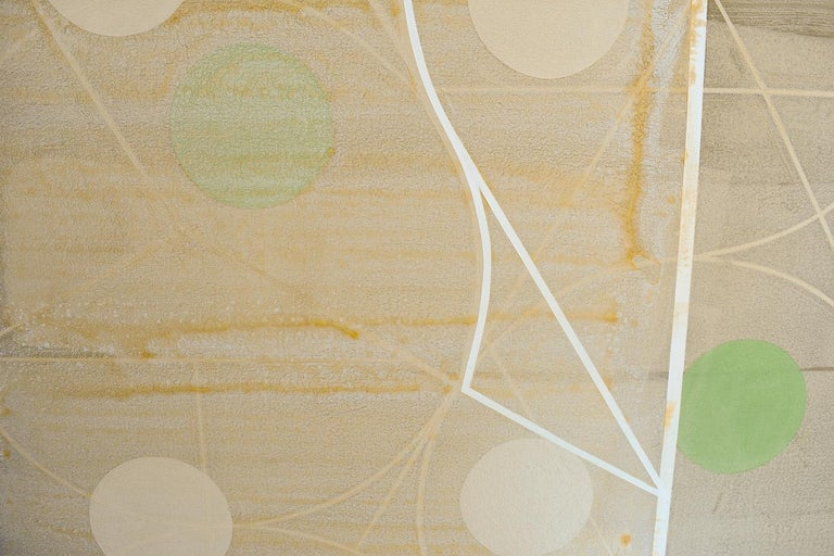 Passing Through #1 (Geometric Abstract Painting in Green, Beige and White) For Sale 4
