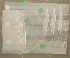 Passing Through #1 (Geometric Abstract Painting in Green, Beige and White)