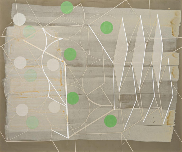 """Geometric and gestural abstract painting on canvas in earth tones of beige, tan, light brown, with details of white and fern green  """"Passing Through #1"""", by Jeanette Fintz in 2018 60 x 72 inches on canvas with sturdy wood stretcher bars Signed"""