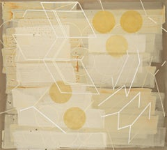 Passing Through #2 (Geometric Abstract Painting in Yellow, Beige and White)