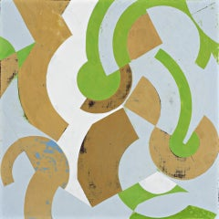 Plan for Spring #1 (Geometric Abstract Painting in Green, Beige and Light Blue)