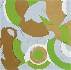Plan for Spring #2 (Geometric Abstract Painting in Green, Beige and Light Blue)