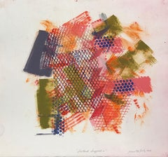 """""""Shattered Scaffold 10"""", gestural abstract monoprint, red, blue gray, green."""