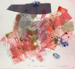 """Shattered Scaffold 11"", gestural abstract etched monoprint, red, blue, pink."