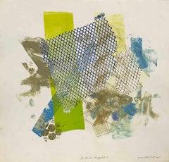 """Shattered Scaffold 12"", gestural abstract monoprint, blue, green, yellow ochre."