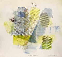 """Shattered Scaffold 13"", gestural abstract monoprint, blue, green, yellow ochre."
