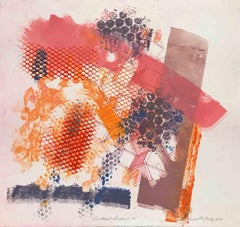 """""""Shattered Scaffold 14"""", gestural abstract monoprint, blue, pink, red, orange."""