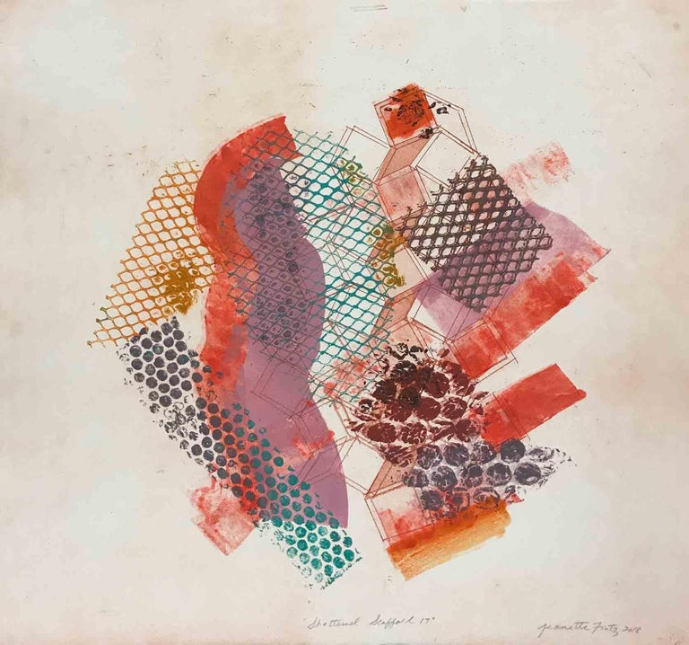 """""""Shattered Scaffold 17"""" is an abstract monoprint created using an etched and aquatinted copper plate, and hand printing by the artist using various stencils, offsets, and vigorous brushstrokes.  Printed in tones of violet red, pink, turquoise blue"""