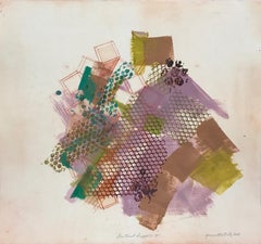 """""""Shattered Scaffold 19"""", gestural abstract monoprint, violet, greens, taupe."""