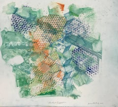 """""""Shattered Scaffold 9"""", gestural abstract etched monoprint, blue, green, orange."""