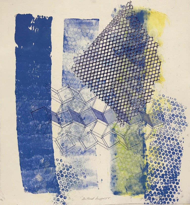 """""""Shattered Scaffold Eight"""" is an abstract monoprint created using an etched and aquatinted copper plates, and hand printing by the artist using various stencils, offsets, and vigorous brushstrokes.  Printed in tones of ultramarine blue, thalo blue"""