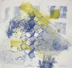 """""""Shattered Scaffold One"""", gestural abstract etching print, blue, yellow green."""