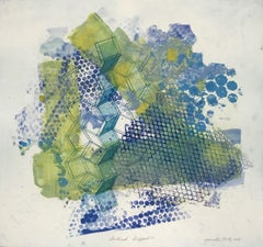 """""""Shattered Scaffold Seven"""", gestural abstract monoprint, blue, yellow green."""