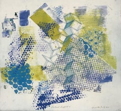 """""""Shattered Scaffold Six"""", gestural abstract  monoprint, blue, yellow green."""