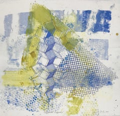 """""""Shattered Scaffold Three"""", gestural abstract monoprint, blue, yellow green."""