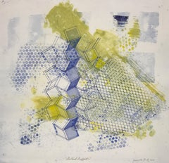 """""""Shattered Scaffold Two"""", gestural abstract etching print, blue, yellow green."""