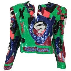 Jeanette St. Martin Beaded Art Sequin Jacket 1980s