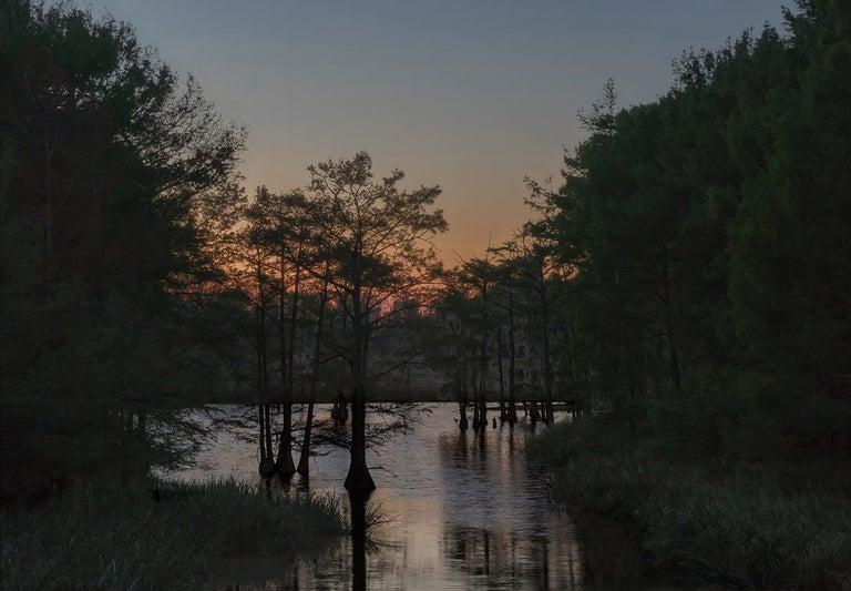Jeanine Michna-Bales Landscape Photograph - Wading Prior to Blackness. Grant Parish, Louisiana