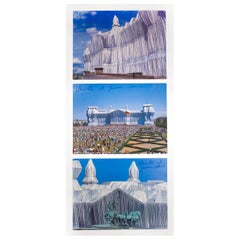 """Jeanne-Claude and Christo Hand-Signed Photographs """"The Wrapped Reichstag"""" 1995"""