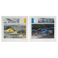 """Jeanne-Claude and Christo """"The Umbrellas"""" Lithographs Pencil Signed 1991"""