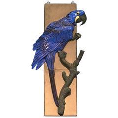 Jeanne Grut for Alumina, a Faience Hyacintara Parrot Wall Releif
