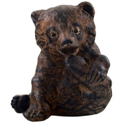 Jeanne Grut for Royal Copenhagen Aluminia Faience, Sitting Bear Cub