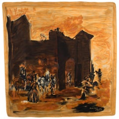 Jeanne Lanvin and Castillo Silk Scarf Spanish Scene with Castle in Amber