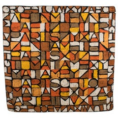 Jeanne Lanvin and Castillo Silk Scarf The Letters in Rust and Chocolate Brown