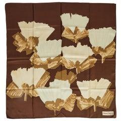 Jeanne Lanvin Brown Silk Floral Scarf