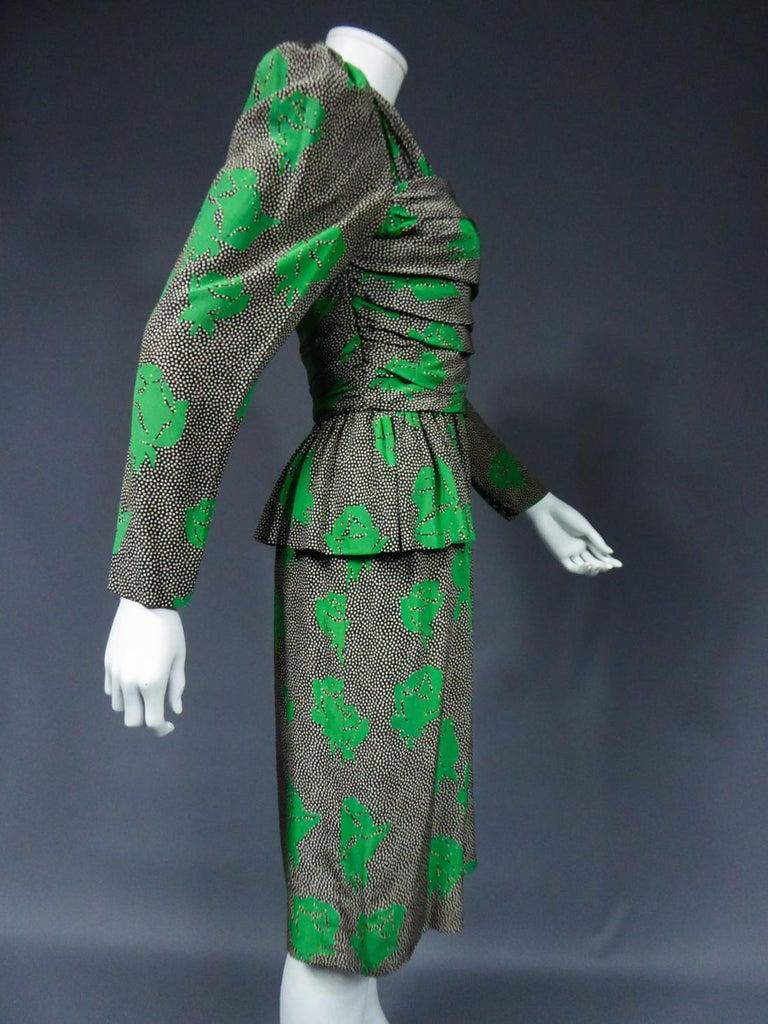 Jeanne Lanvin / Jules-François Grahay Haute Couture Cocktail Dress Circa 1980 For Sale 7