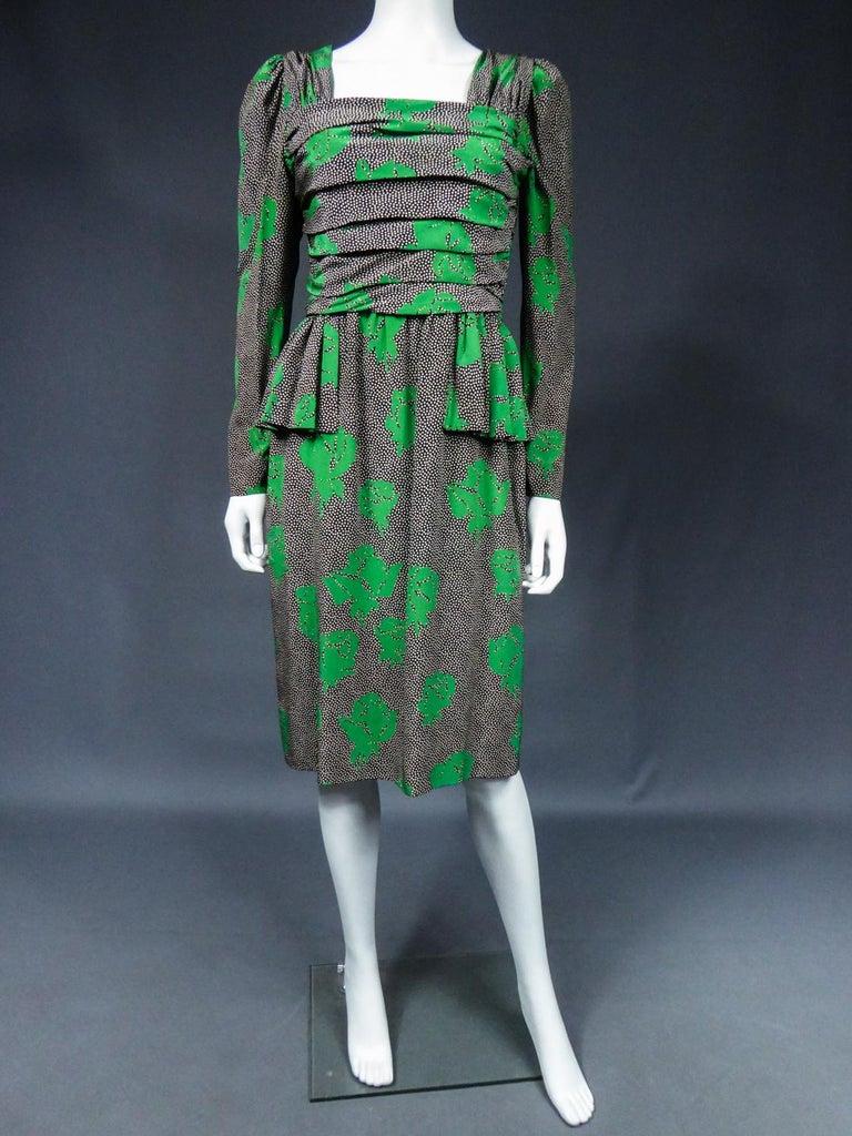 Women's Jeanne Lanvin / Jules-François Grahay Haute Couture Cocktail Dress Circa 1980 For Sale
