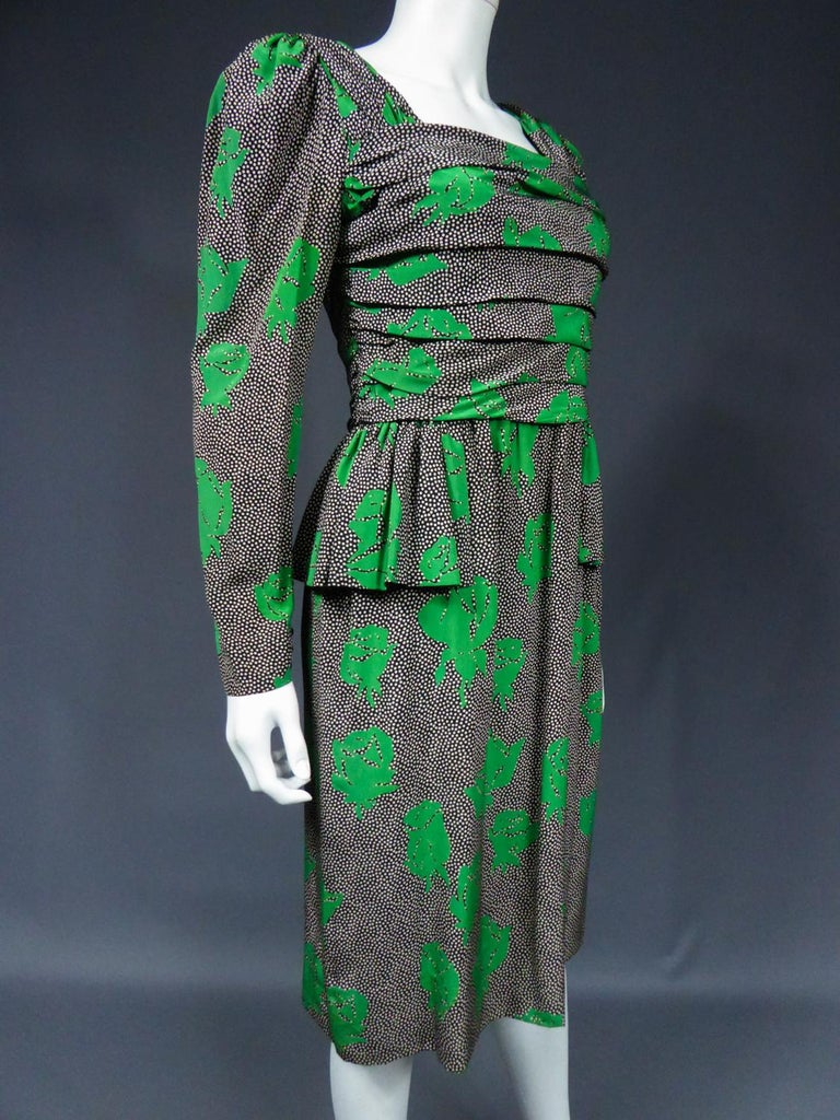 Jeanne Lanvin / Jules-François Grahay Haute Couture Cocktail Dress Circa 1980 For Sale 4