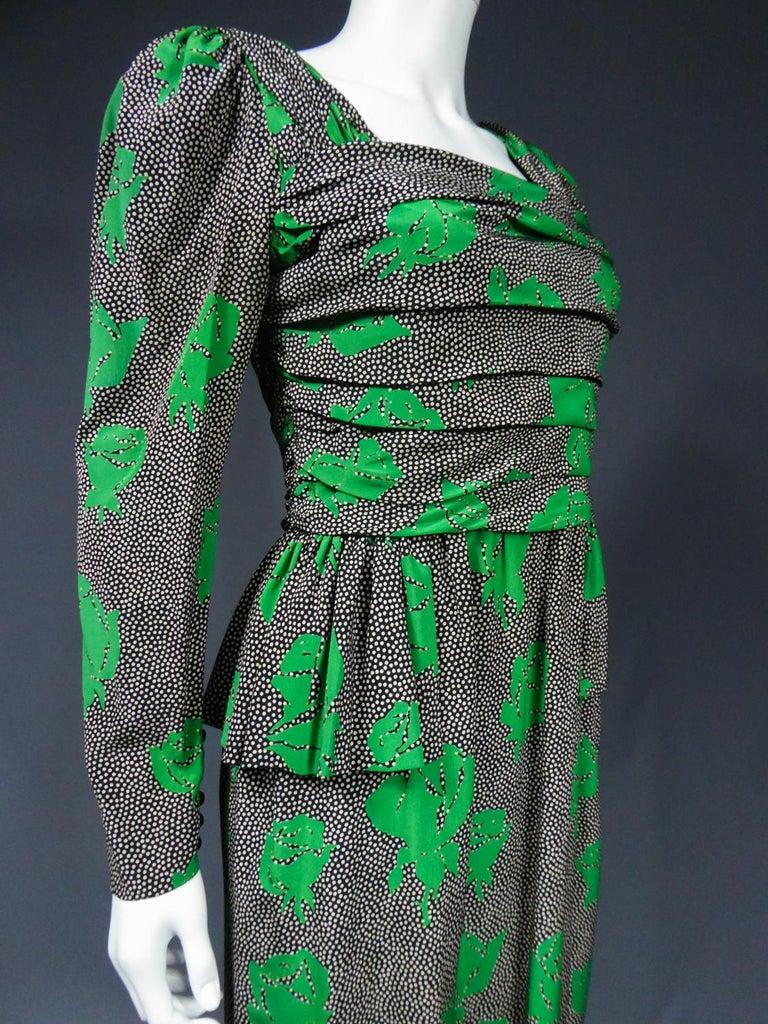 Jeanne Lanvin / Jules-François Grahay Haute Couture Cocktail Dress Circa 1980 For Sale 5
