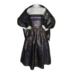 Jeanne Lanvin Purple and gold lurex silk cocktail dress & wrap