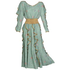 Jeanne Marc Seafoam Print Dress Gold Accents, 1980s