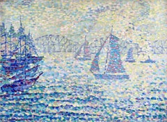 Sailing Boats - Neo Impressionist Oil, Riverscape - Jeanne Selmersheim-Desgrange
